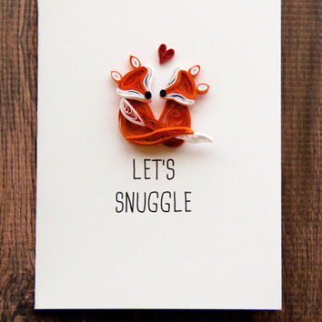 Fox Couple Cards- Lets Snuggle Card - Fox Cards - Valentines Day Cards - Love Cards