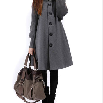 Grey Women coats OL Wool coat Cashmere winter coat Hood cloak Hoodie/Hooded Cape/double-breasted coat/clothing /jacket/dress S-3XL