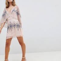 Frock And Frill Petite Premium All Over Embellished Mini Skater Dress With Cape Detail at asos.com