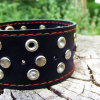 Black Leather Bracelet,Leather bracelet with rivets, Leather Cuff, Riveted Bracelet, Biker Chic, Wide Cuff, Men's leather, rock leather