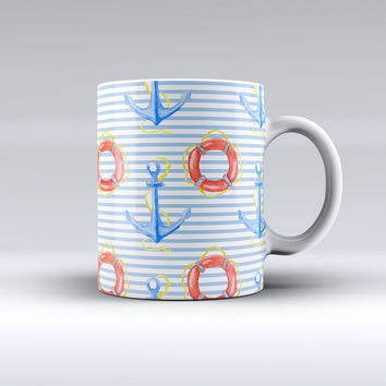 The Striped Watercolor Nautical Blue and Pink ink-Fuzed Ceramic Coffee Mug