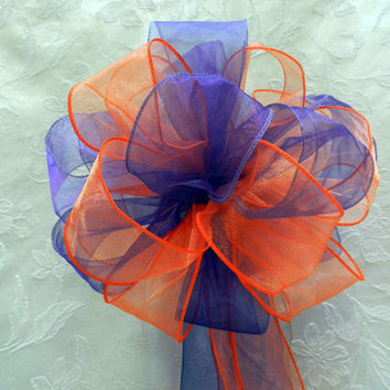 Orange/Tangerine and Regency Purple Wedding/ Pew Bows set of 10