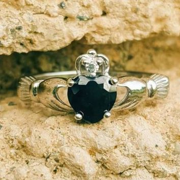 .925 Sterling Silver Onyx Black CZ Claddagh Ring Ladies Size 3-12 Heart Midi