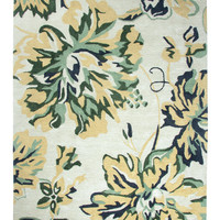 Dynamic Rugs Casual Beige/Green Floral Rectangle Area Rug