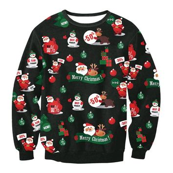 Sweater Santa Claus Cute Print Pullover Sweater Jumper Outwear Women's Patterns of Reindeer Snowman Christmas WD46