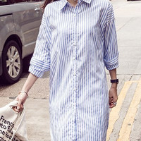 White and Blue Furcal Long Sleeve Striped Shirt Dress