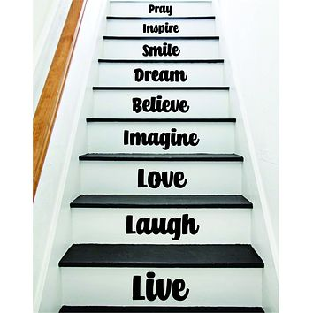 Live Laugh Love Stairs Quote Wall Decal Sticker Room Art Vinyl Family Home House Staircase Dream Inspirational Dream Adventure