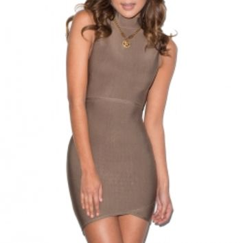 'Exposure' Taupe Cut Out Bandage Dress - Mistress Rocks