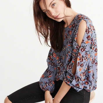 BEADED-TRIM PEASANT TOP