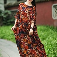 Women's Silk Cotton Floral Dress Short Sleeve Casual Loose Fitting One Size
