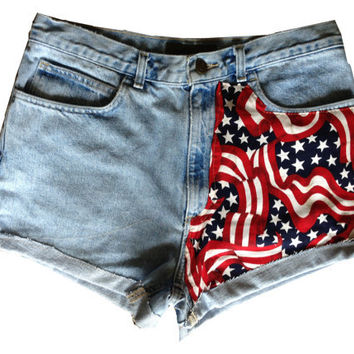 High Waisted American Flag Shorts Size 12 by ToDyeForGlam on Etsy