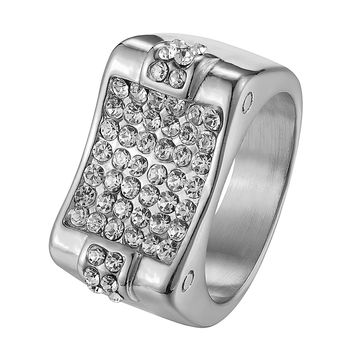 Mens Wedding Engagement Ring Iced Out Hip Hop Bling Stainless Steel Pinky Pave