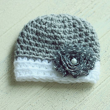Shabby Dot Flower Hat, Baby Girl Hat, Grey, White, preemie, micropreemie, newborn, Photography Prop