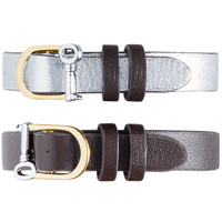 Single Leather Band-Espresso/Pewter Mixed Metal