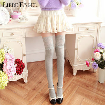 LIEBE ENGEL Hot Cotton Lace Women Knit Over Knee Thigh Stockings Winter Warm Knee High Pantyhose Sexy Cable Knit Tights 7 Colors