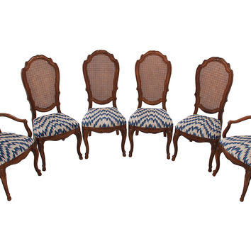 French-Style Caned Dining Chairs, S/6
