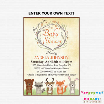 Woodland Baby Shower Invitation Woodland Animals Baby Shower Invitations  Fox Baby Shower Rustic Instant Download Editable