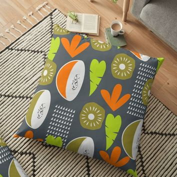 'Modern fruity fruits' Floor Pillow by cocodes
