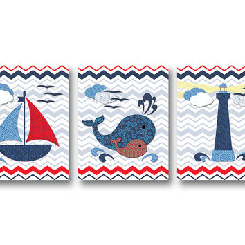 Nautical nursery wall decor bathroom art kids room artwork baby boy room art playroom decoration boat whale navy blue red baby shower gift