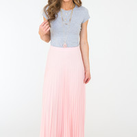 Pleated Maxi Skirt - Light Pink