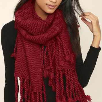 Destination Toasty Wine Red Knit Scarf
