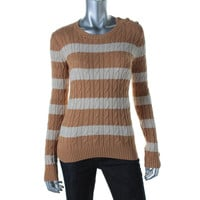 Charter Club Womens Petites Metallic Knit Pullover Sweater