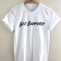Bad Behavior Logo White Graphic Unisex Tee