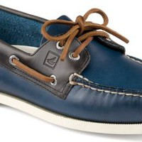 Sperry Top-Sider Authentic Original Cyclone Leather 2-Eye Boat Shoe Navy/Gray, Size 15M  Men's Shoes