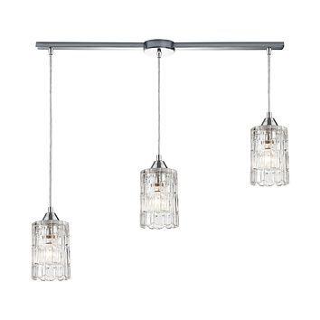 Ezra 3-Light Linear Mini Pendant Fixture in Polished Chrome with Textured Clear Crystal