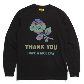 Thank You Iridescent Longsleeve T-Shirt Black