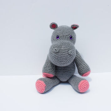 Hippo Plushie, Crochet Hippo Stuffed Animal, Handmade Amgurumi, Baby Shower gift - Made To Order - Pink and Gray