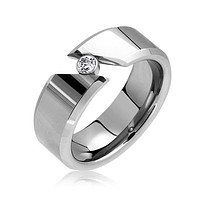 .25CT Tension Bypass Bezel CZ Couples Engagement Ring Tungsten Ring