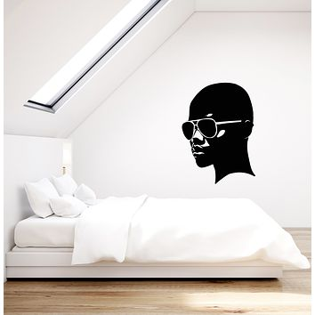 Vinyl Wall Decal African Girl Head In Sunglasses Black Lady Stickers (3707ig)