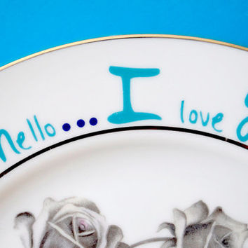 Hello I Love You Plate, teal branch, teal and blue birds, bubble and roses, abstract shapes, heart