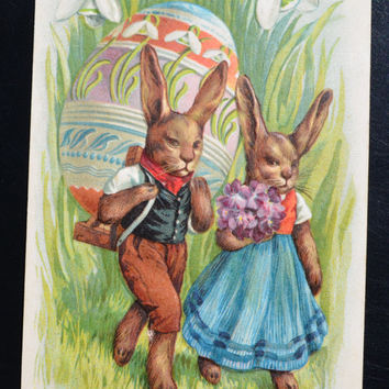 Easter Postcard Humanized Rabbits Fantasy Postcard Hiking Bunnies with Eggs