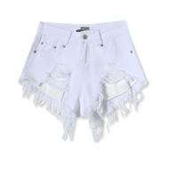 Fashion cotton Hot Denim Shorts women Sexy hole White Frayed Edges high Waist short jeans 2017 casual pockets Ripped shorts
