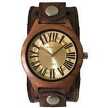 Wood case watch with vintage leather cuff band