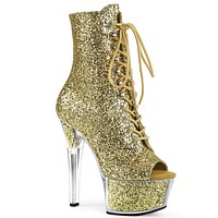 "Aspire 1021G Gold Glitter Lace Up  6"" High Heel Ankle Boots"