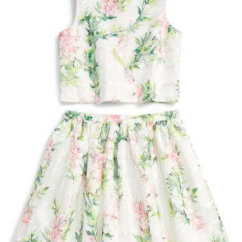 Pippa & Julie Floral Print Top & Skirt Set (Big Girls) | Nordstrom