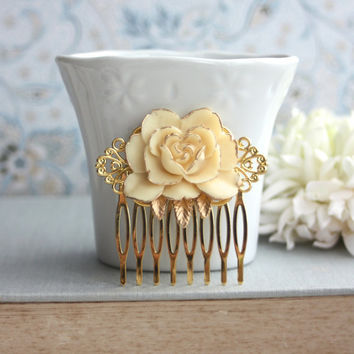 Ivory Flower Gold Comb. Vintage Style Ivory Rose Gold Hair Comb. Rustic Ivory Rose Gold Hair Wedding Comb. Bridesmaids Gift. Gold Wedding.