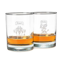 THE 7 DEADLY SINS GLASSES - SET OF 7 | Double Old Fashioned, Glass Barware, Fun Drinking Glasses, Comic Illustrations, Seven Deadly Sins | UncommonGoods