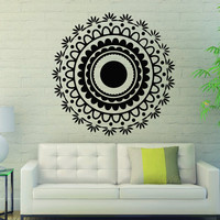 Flower Wall Decals Mandala Om Yoga Indian Pattern Oum Sign Living Room Interior Vinyl Decal Sticker Art Mural Bedroom Kids Room Decor MR366