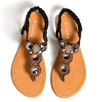 Trendy Flat Sandals With Jeweled Design
