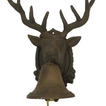 Large CAST IRON Deer Head Bell