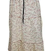 Mogul Interior Simi Womens Skirts Vintage Floral Printed A-Line Tiered Gypsy Long Maxi Skirts