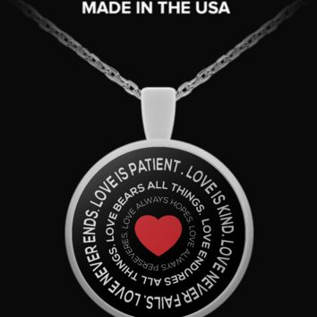 LOVE IS PATIENT BIBLE VERSE PENDANT loveispendant