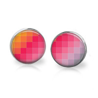 Colorful Earrings Bright Orange Pink Purple Lilac Orchid Pixelated Pattern Geeky Artist Print Square Pattern Print Pink Ombre Geometric Stud