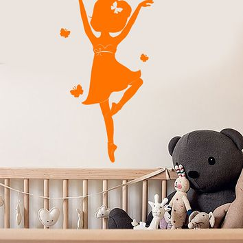 Vinyl Wall Decal Butterflies Little Ballerina Dancer Pointe Shoes Ballet Stickers (2658ig)