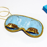 Holly Golightly Lace sleep mask - Audrey Hepburn Breakfast at Tiffanys eye sleep mask - Teal blue Lace eye pillow - Party favor