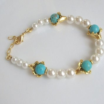 Bridal Pearl handmade with turquoise bracelet by BoreasDesign